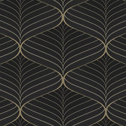 کاغذ دیواری سه بعدی- کاغذ دیواری مشکی-طلایی image