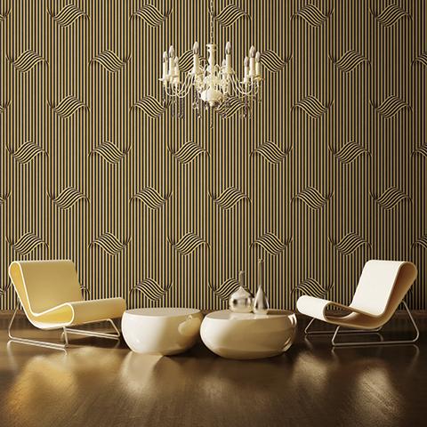 اجرای کاغذ دیواری سه بعدی قهوه ای طلایی image