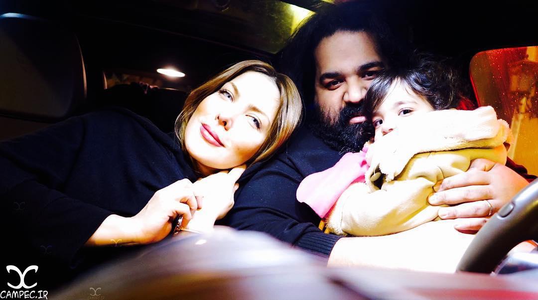رضا صادقی با همسر و دخترش تیارا