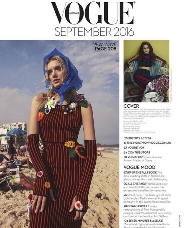 اسکن HQ از سلنا گومز در شماره سپتامبر سال 2016 مجله Vogue استراليا