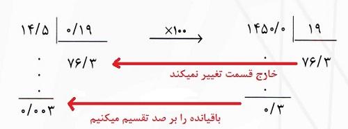 تقسیم اعداد اعشاری بر اعداد اعشاری
