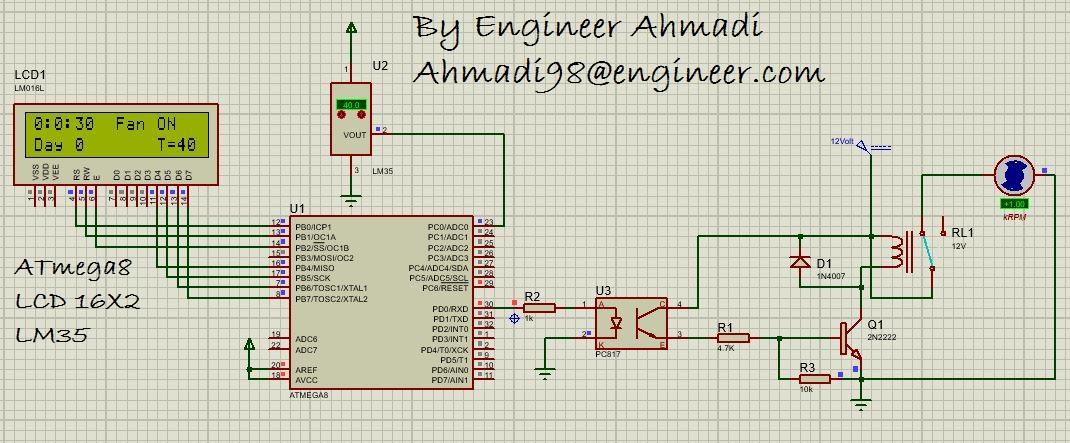 تایمر + دماسنج با میکرو کنترل ATmega8 و نمایش گر LCD و سنسور LM35و خروجی فن اتوماتیک