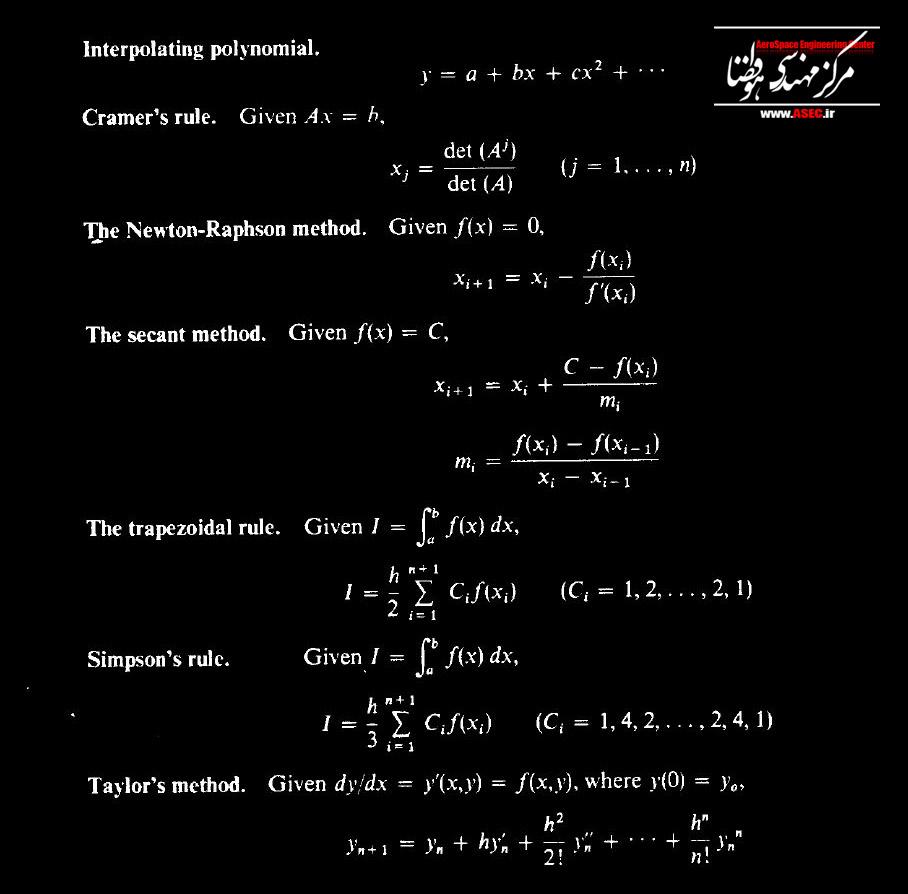 خلاصه فرمول های محاسبات عددی