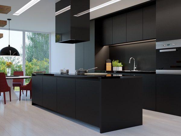 عکس کابینت آشپزخانه به رنگ مشکی1