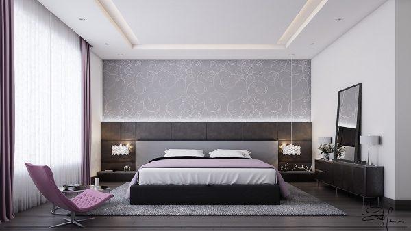 عکس اتاق خواب با تم خاکستری2