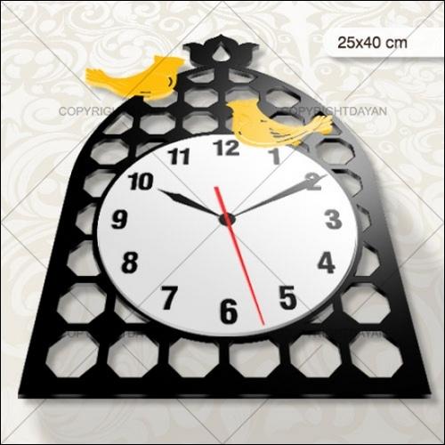 خرید اینترنتی بهترین مارک ساعت دیواری زیبای طرح مرغ آمین رنگ مشکی
