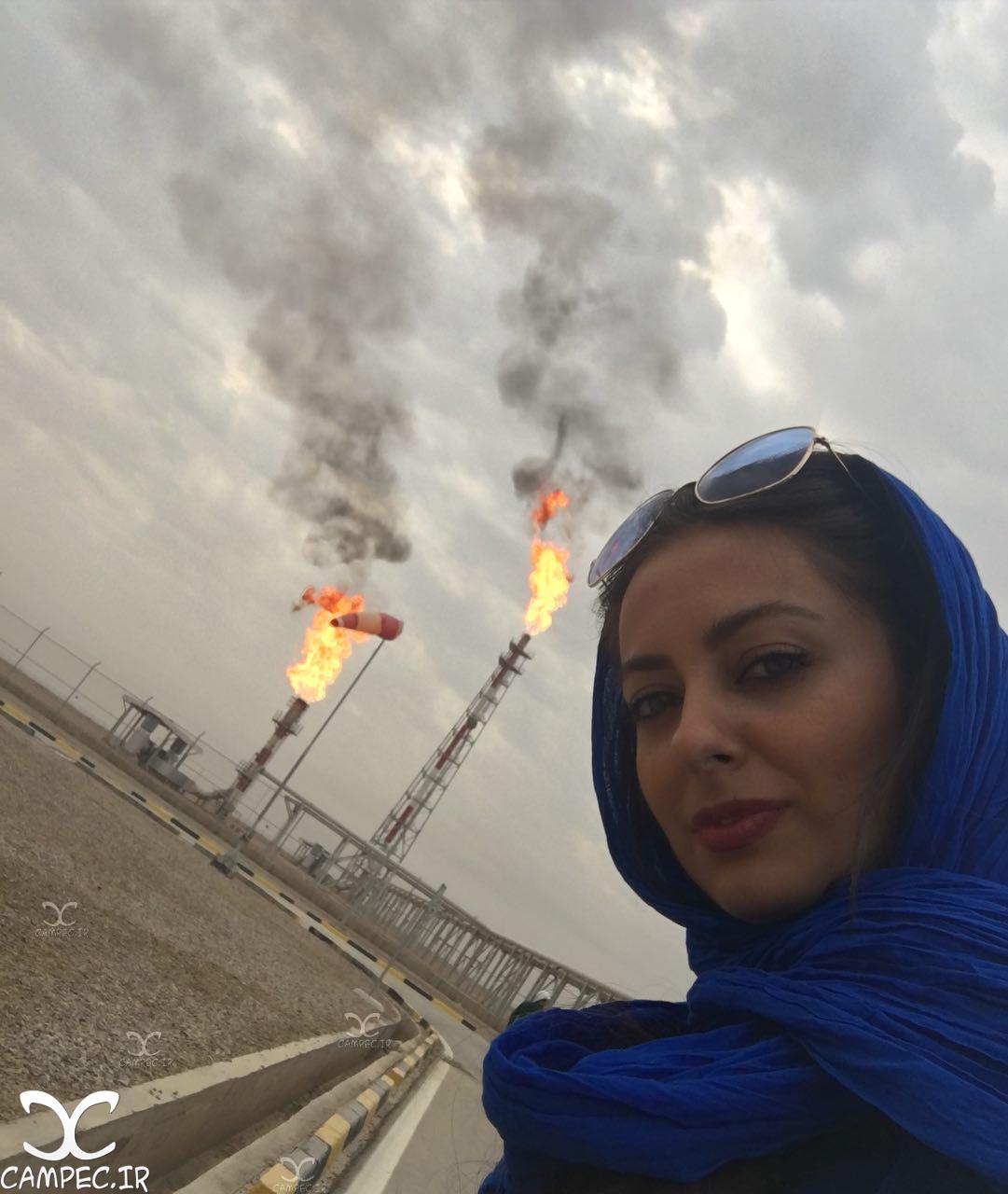 نفیسه روشن در بازدید از میدان نفتی غرب کارون