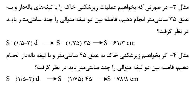 فرمول محاسبه فاصله تیغه های باله دار در زیرشکن