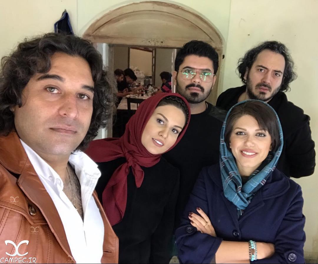 رز رضوی و نیما شاهرخ شاهی در پشت صحنه فیلم نیوکاسل