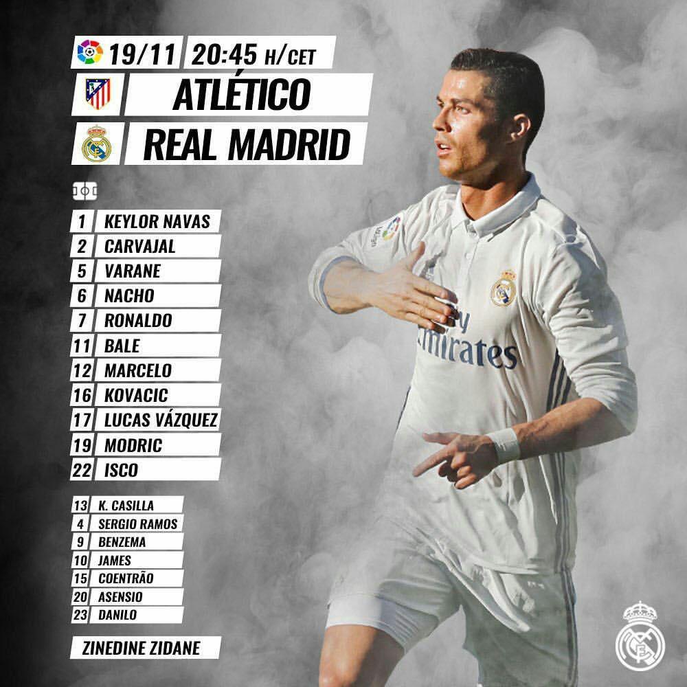 <h3>رسمی؛ ترکیب تیم های اتلتیکو مادرید و رئال مادرید</h3>