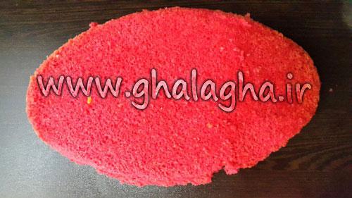 آموزش تصویری طرز تهیه کیک هندوانه ای شب یلدا