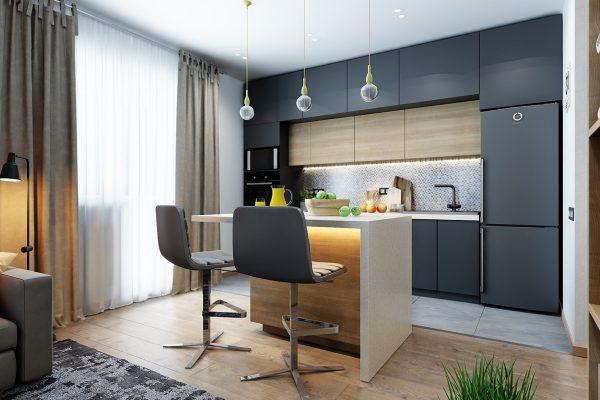 کابینت خاکستری در آشپزخانه7