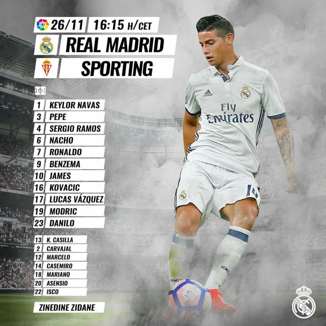 رسمی؛ ترکیب تیم های رئال مادرید و اسپورتینگ خیخون