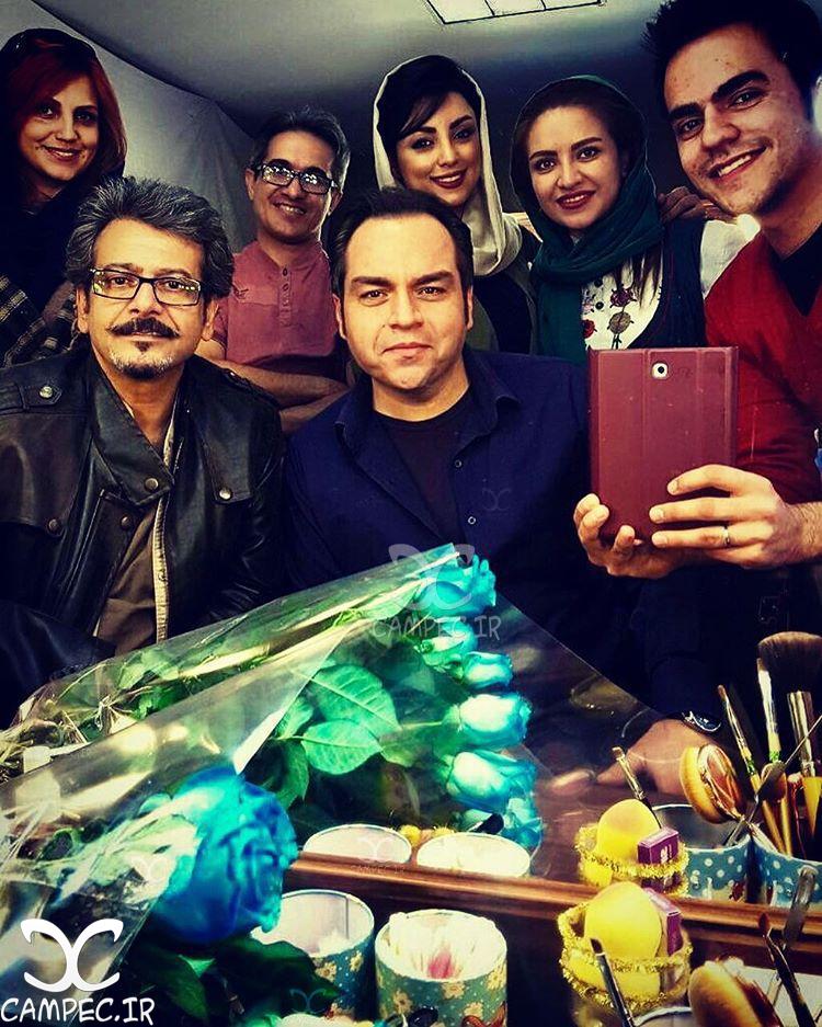 شهرام قائدی و شیوا بلوچی در پشت صحنه سریال پرستاران