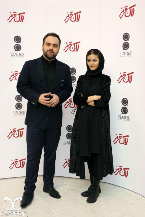 پردیس احمدیه و شهرام قائدی در اکران فیلم لاک قرمز