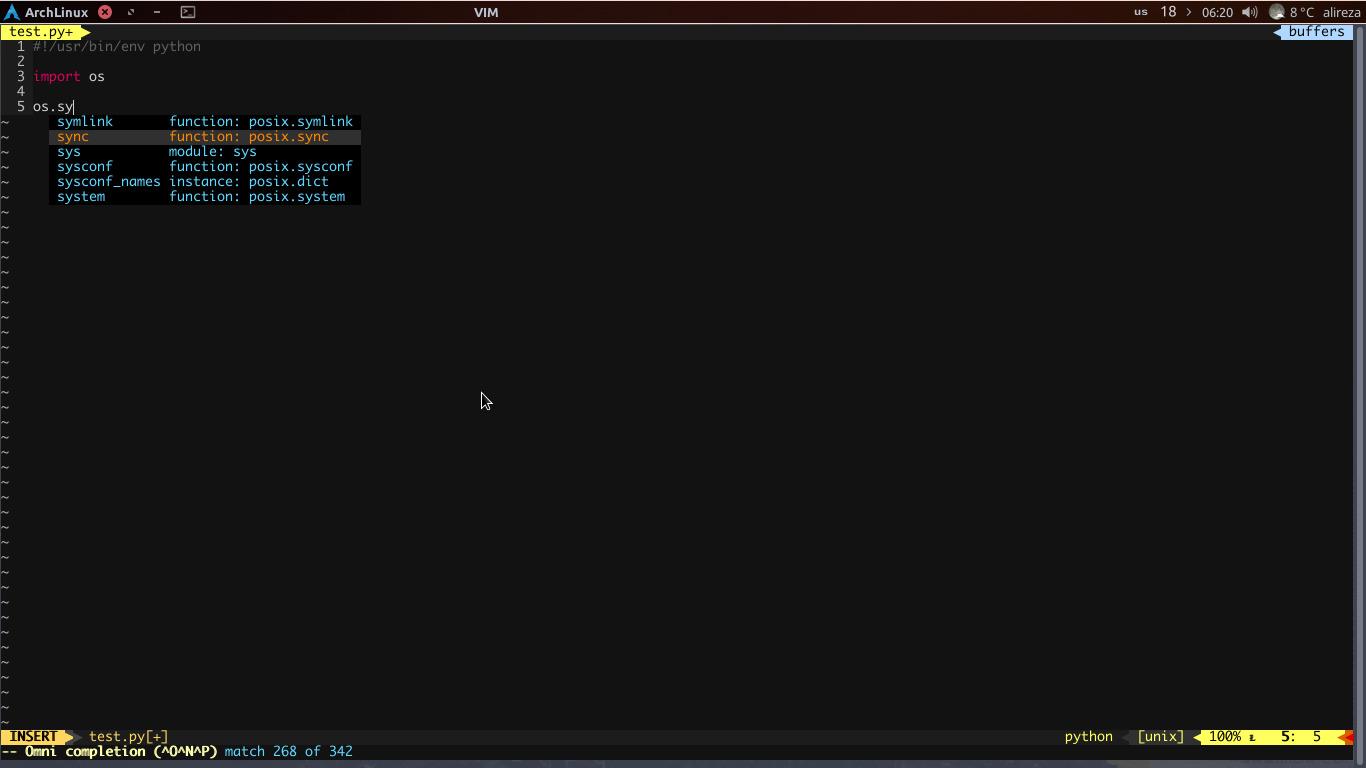 vim-jedi یک افزونه برای autocompletion پایتون در ویرایشگر Vim