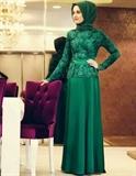شیکترین مدل لباس شب مجلسی پوشیده اسلامی با پارچه گیپور و کرپ سبز