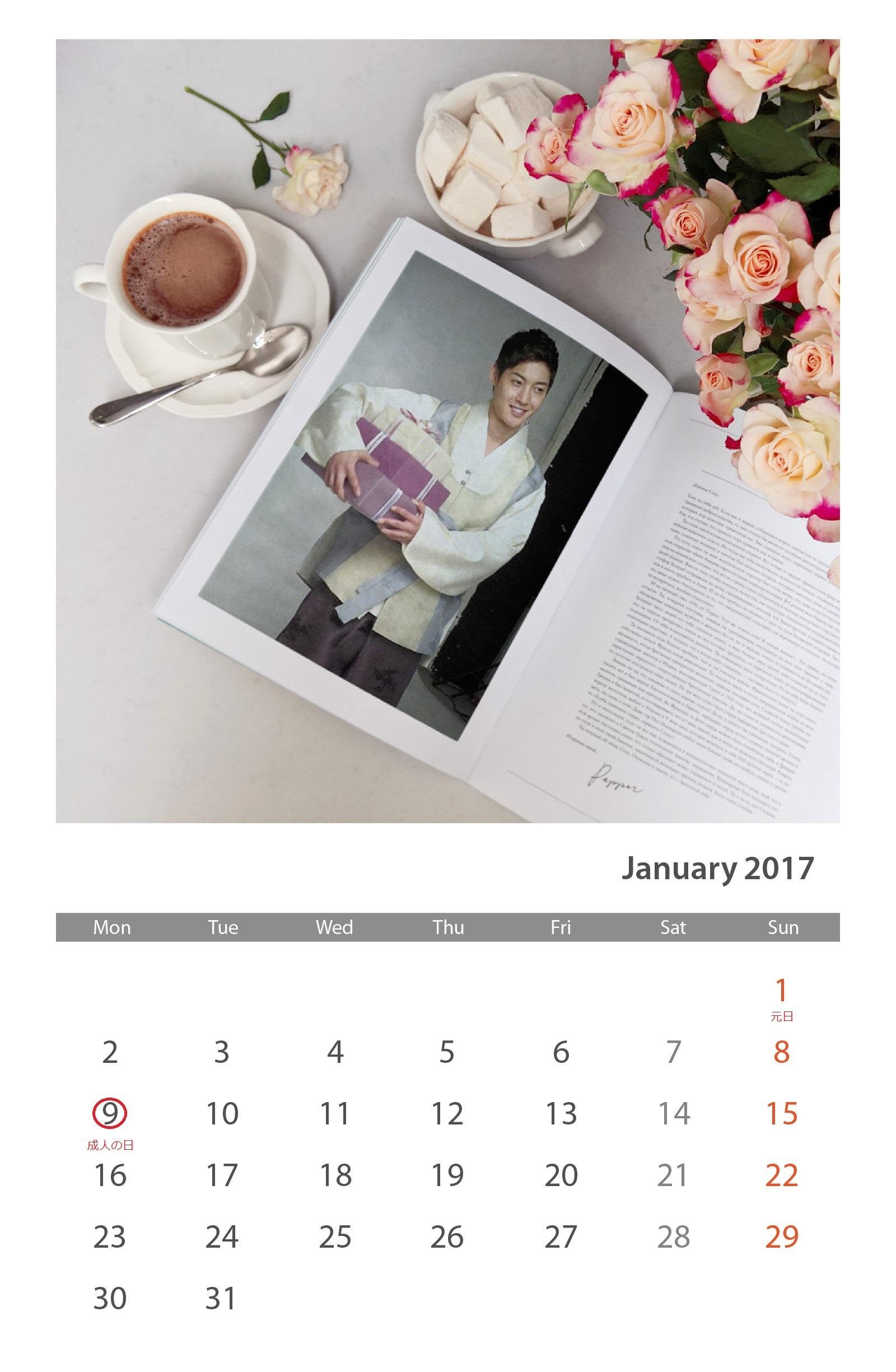 Calendar of January 2017 - 2017.01.01