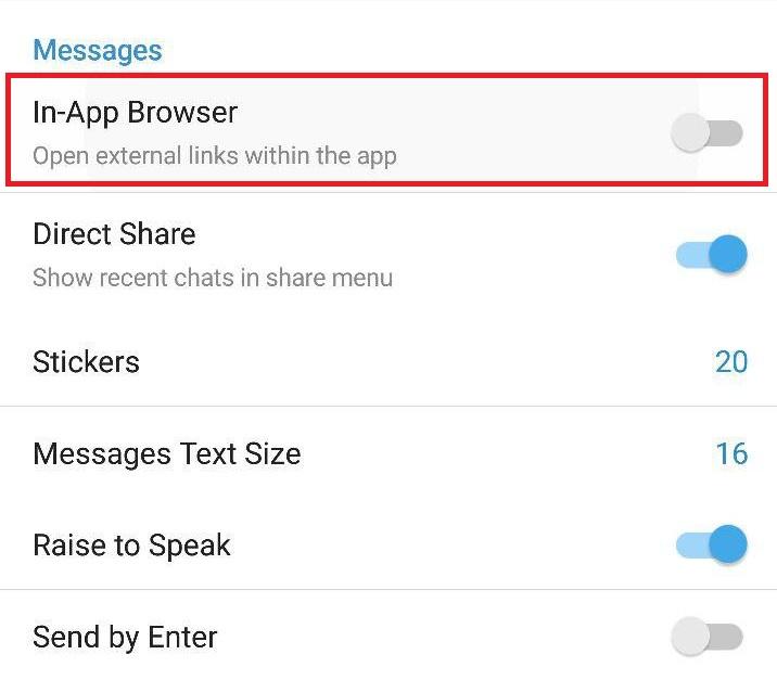 عدم استفاده از مرورگر داخلی تلگرام