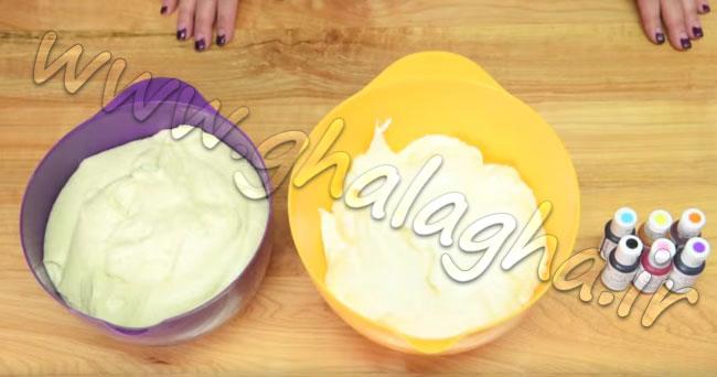 کیک پلنگی رنگین کمانی آموزش تصویری به همراه ویدیو