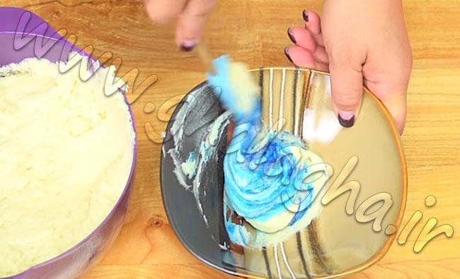 ویدیو آموزش طرز تهیه کیک رنگین کمانی پلنگی