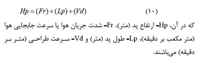 فرمول محاسبه ارتفاع پد در سیستم سرمایشی گلخانه