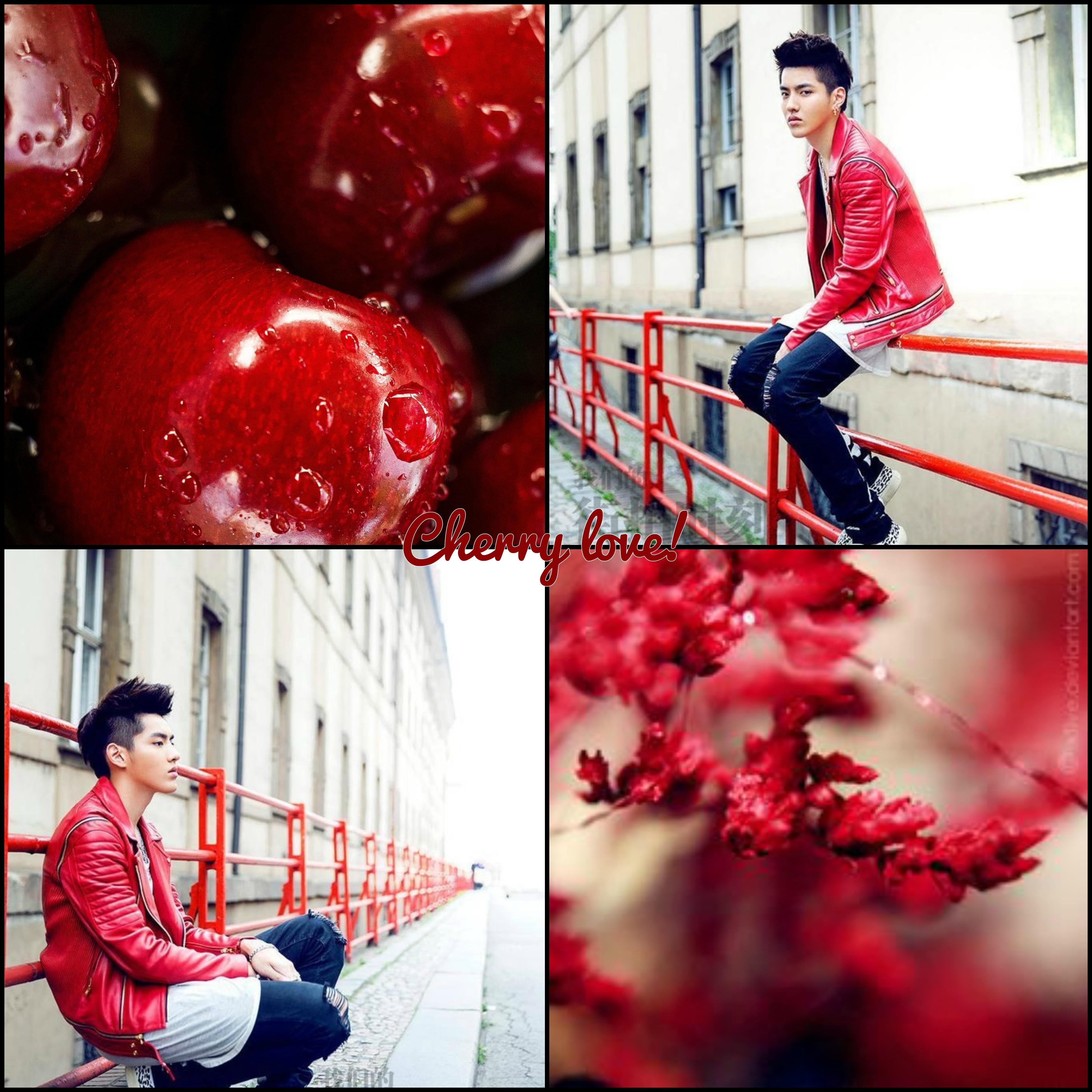 کریس - مورد بورد - اکسو - kris - july - juice - exo mood board - cherry love