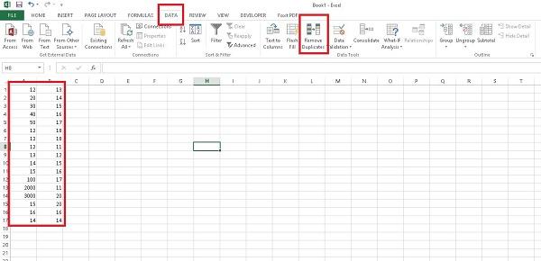 حذف سریع داده های تکراری در اکسل