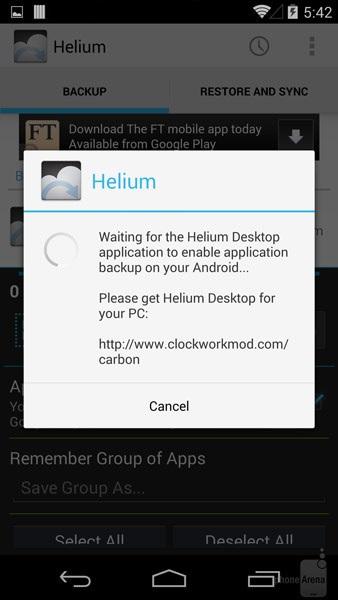 گام چهارم آموزش گرفتن بک آپ از گوشی و تبلت اندروید بدون روت کردن با نرم افزار هلیوم