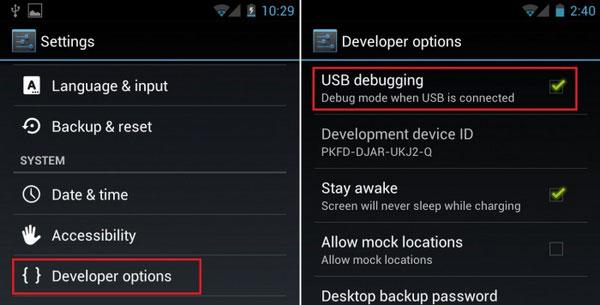 طریقه فعال کردن usb debugging در گوشی اندروید