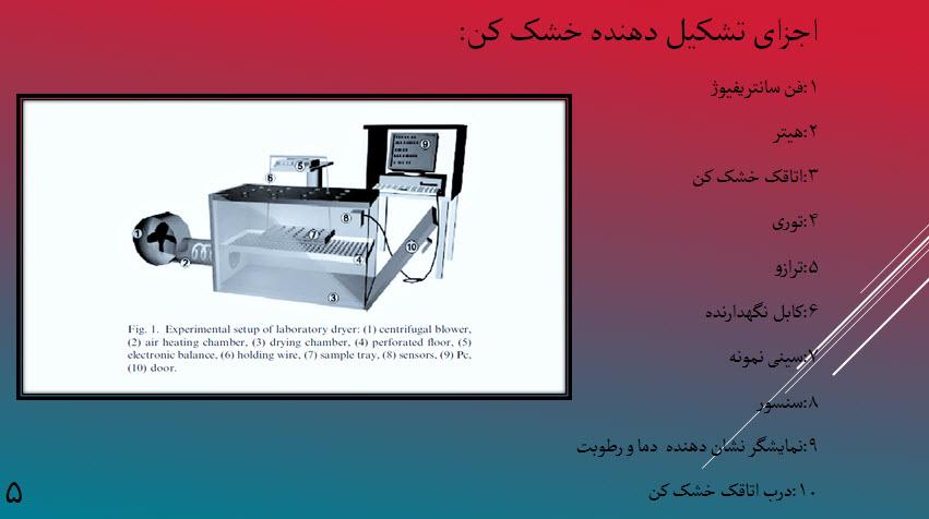 دانلود مقاله طراحی خشک کن کابینتی با فن سانتریفیوژی در سالیدورک خشک کردن میوه (پاورپوینت ppt )