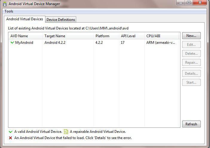برنامه AVD Manager.exe برای مدیریت دستگاه های مجازی اندروید. .