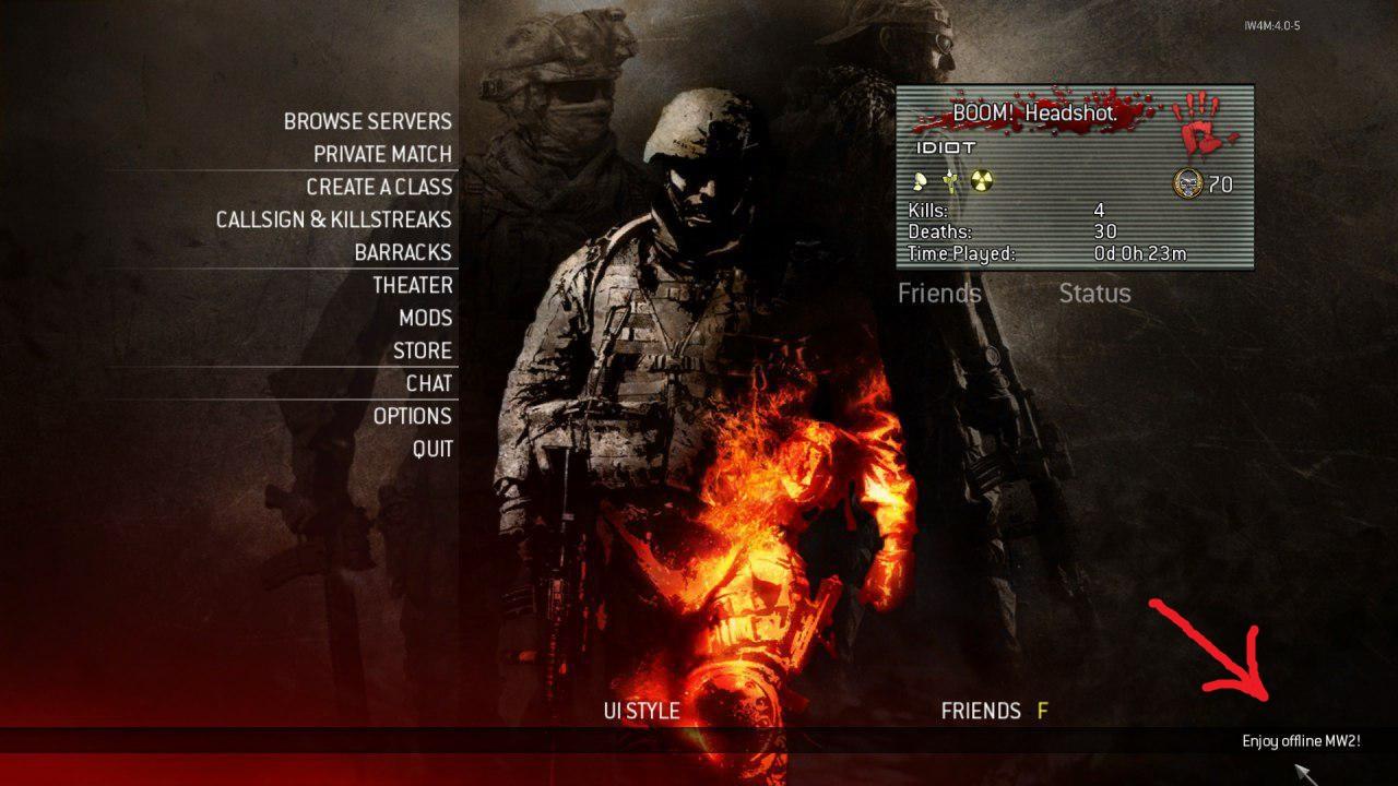 آفلاین بازی کردن MW2 در V2 Gaming