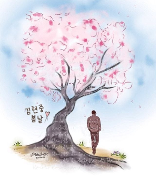 [blancbelle fanart] Kim Hyun Joong - Celebrate the cherry blossom season with you Happy Easter [2017.04.16]