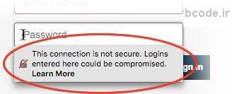 هشدار امنیتی فایرفاکس در مورد ذخیره پسورد در سایتهای http