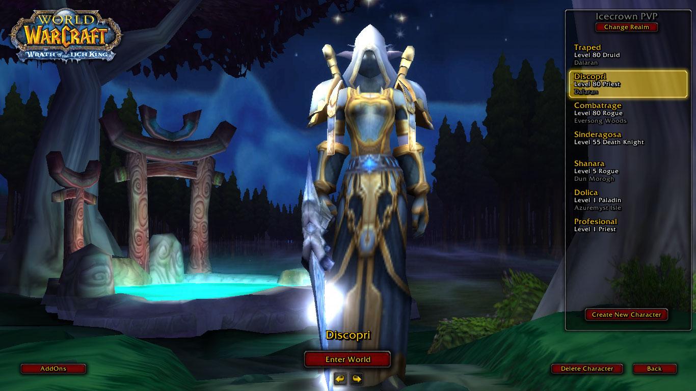 فروش اکانت - کاربر Demonlove - کلاس Druid + Priest - سرور Warmane.com