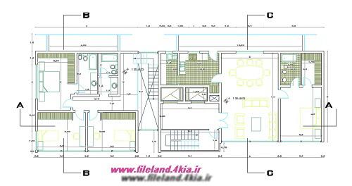 نقشه معماری برج با واحدهای دوبلکس
