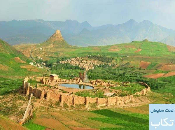 چشم انداز زیبای تخت سلیمان و زندان دیو