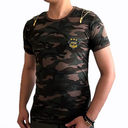تیشرت مردانه ارتشی طرح Zipper