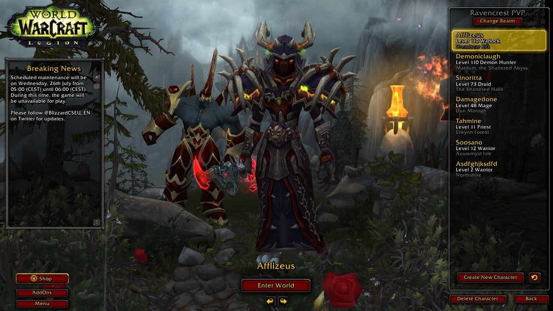 فروش اکانت - کلاس Warlock + Demon Hunter - سرور Battle.net
