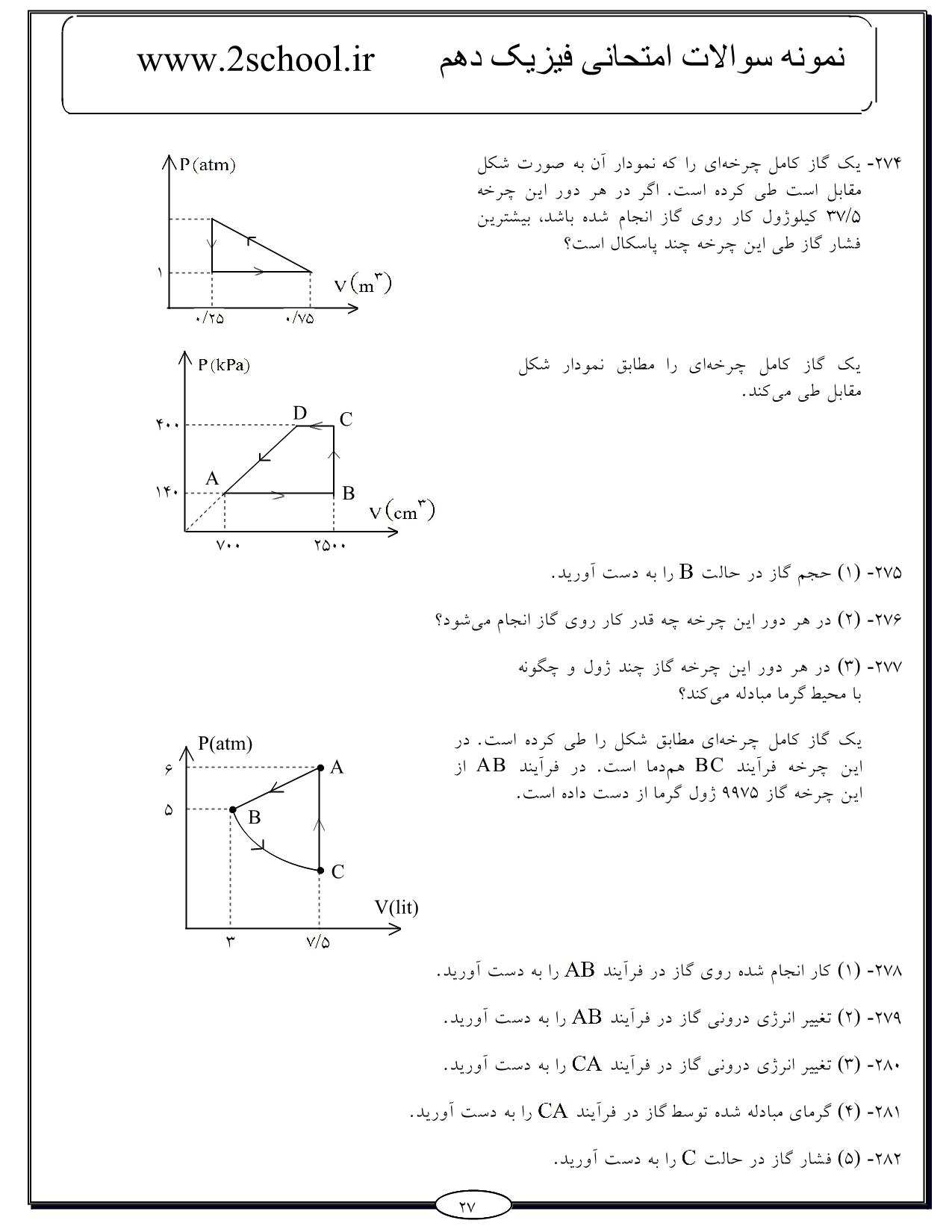 سوالات فیزیک دهم