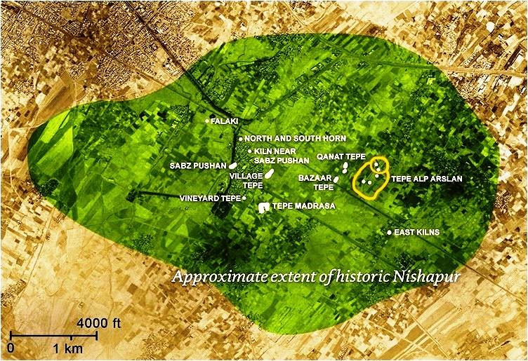 حدود گستره نیشاپور کهن؛ محوطه باستانشناسی بزرگ نیشابور قدیم