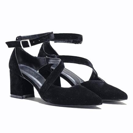 کفش پاشنه بلند زنانه مشکی جیر مجلسی MECREA