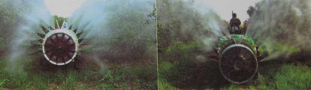 نحوه سمپاشی در باغات توسط سمپاش توربینی سوارشونده