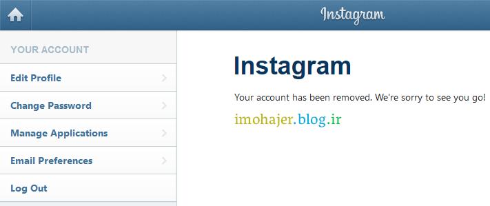 آموزش کامل حذف اکانت Instagram