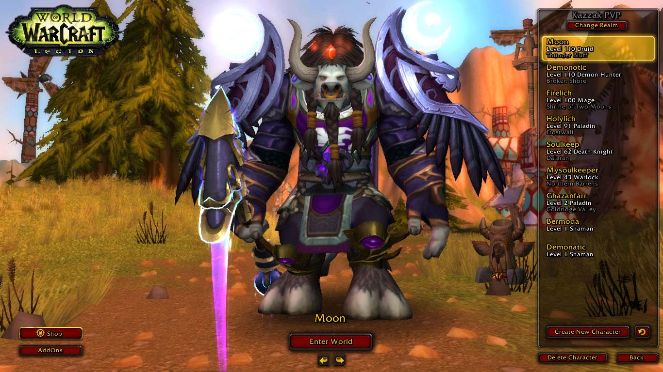 فروش اکانت - کاربر starfall - کلاس Druid + DH + Mage + Warlock - سرور Battle.net