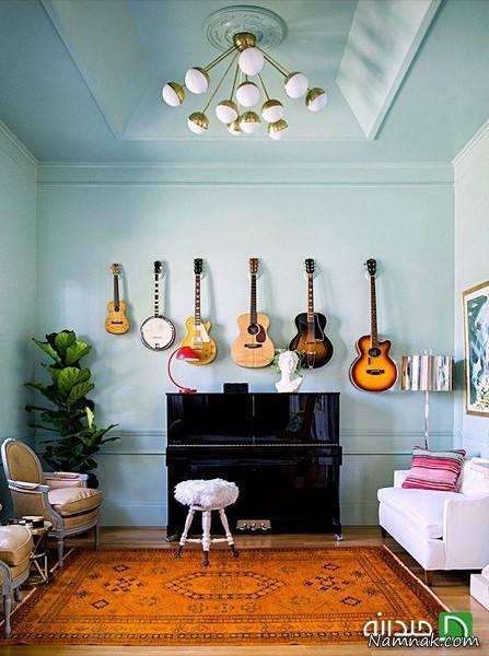 دکوراسیونی زیبا و خلاقانه با استفاده از گیتار