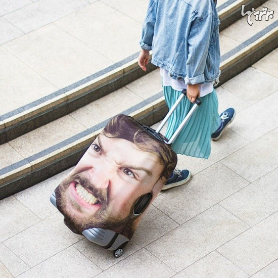 چاپ خنده دار اما هوشمندانه چهره افراد روی چمدان