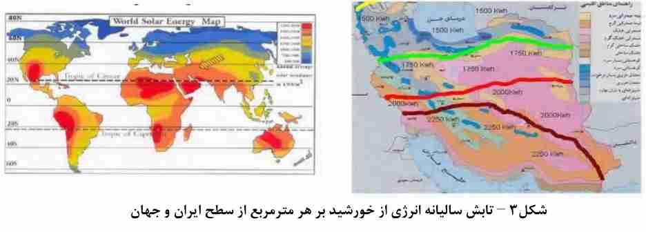 تابش سالیانه انرژی خورشید بر هر متر مربع از سطح ایران و جهان