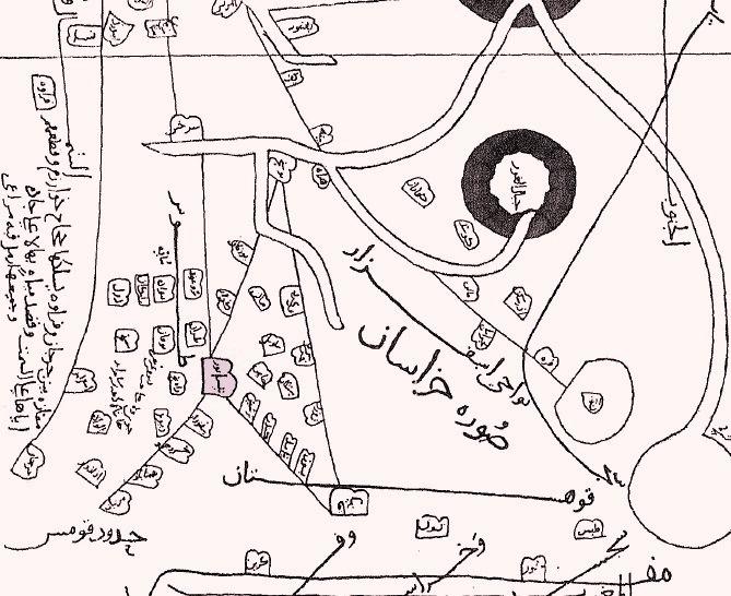 ناحیه خراسان بزرگ غربی ( ربع نیشابور)، ترسیم شده توسط ابن حوقل، جغرافیدان قرن چهارم هجری.